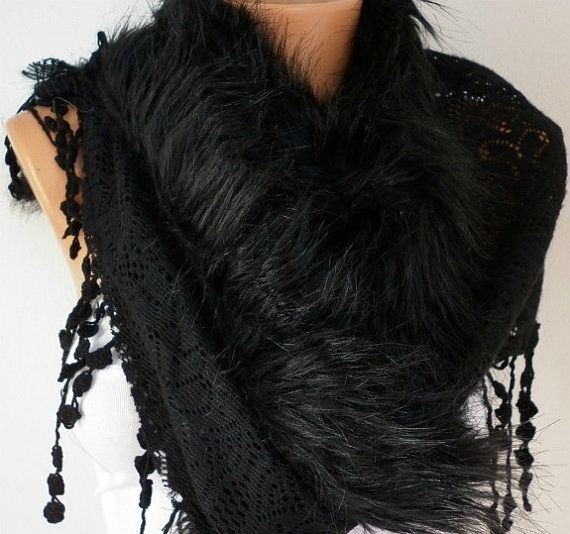 Knitted  Scarf    Headband  Cowl with Lace and Pompom by fatwoman, $13.50