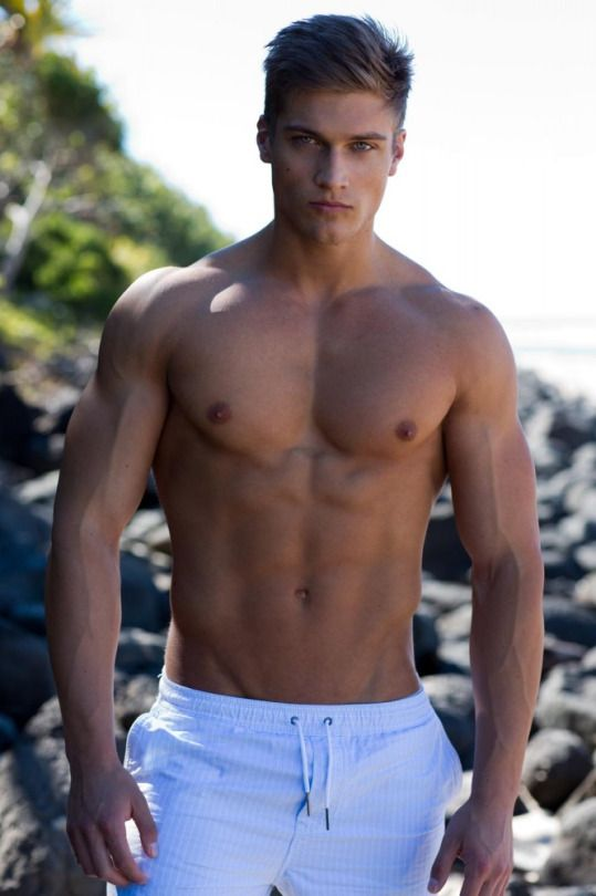 Sexy shirtless muscular male