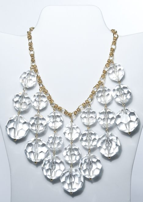Gay Boyer Faceted Crystal Statement Necklace