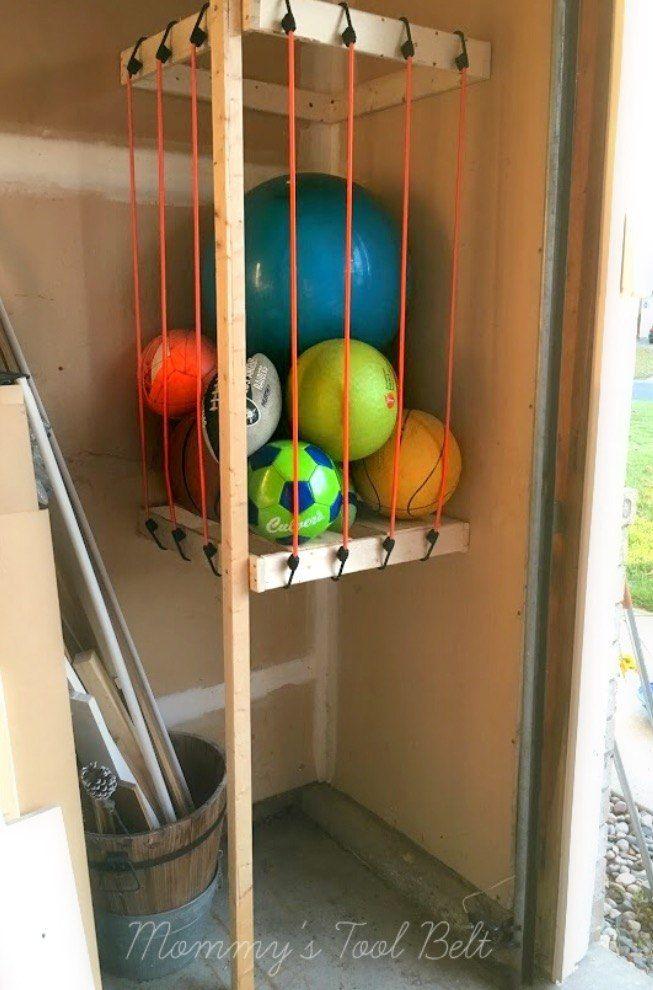 Garage Ball Storage Diy Space Saving Easy Garage Storage Diy