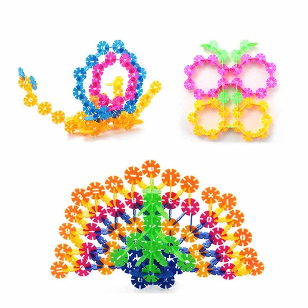 f1e91efe1 500pcs 3.1cm Multicolor Plastic Snowflake Building Blocks Children Puzzle Educational  Toy