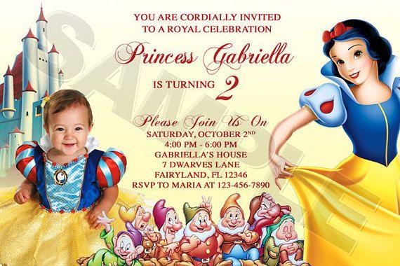 Disney Princess Snow White Birthday Party Photo Invitations