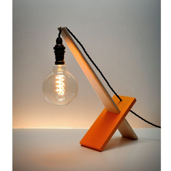 Small table lamp with traditional wiring and an edison bulb small table lamp with traditional wiring and an edison bulb featured with orange support greentooth Choice Image
