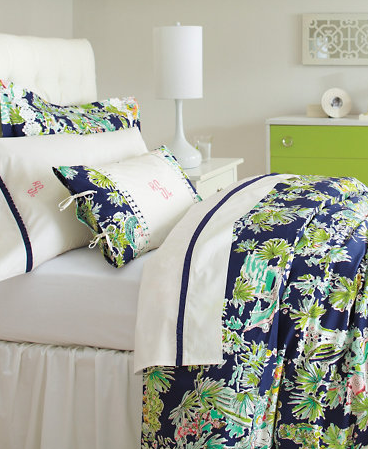 lilly pulitzer sister florals comforter cover - jungle glam navy
