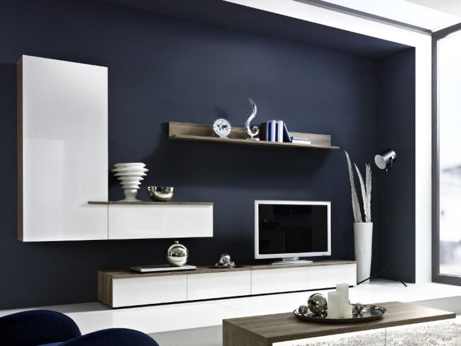 arte-m linea modern tv unit and wall storage system in white or