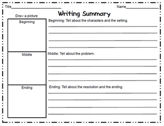 Summary Graphic Organizer Using For Book Review Project  Writing