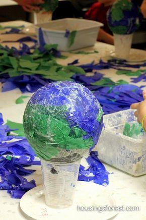 Paper Mache Light Up Globes Earth Day Book Fair 2016