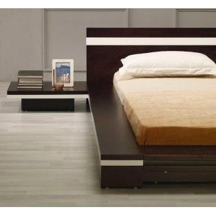 Sonata Platform Wenge Bed with attached Nightstands $1450