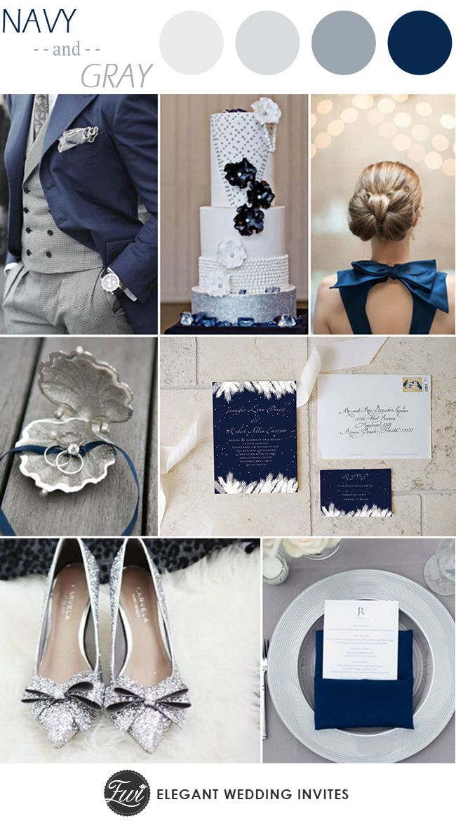Navy Blue and Gray Wedding Color Ideas and Wedding Invitations #weddingcolors