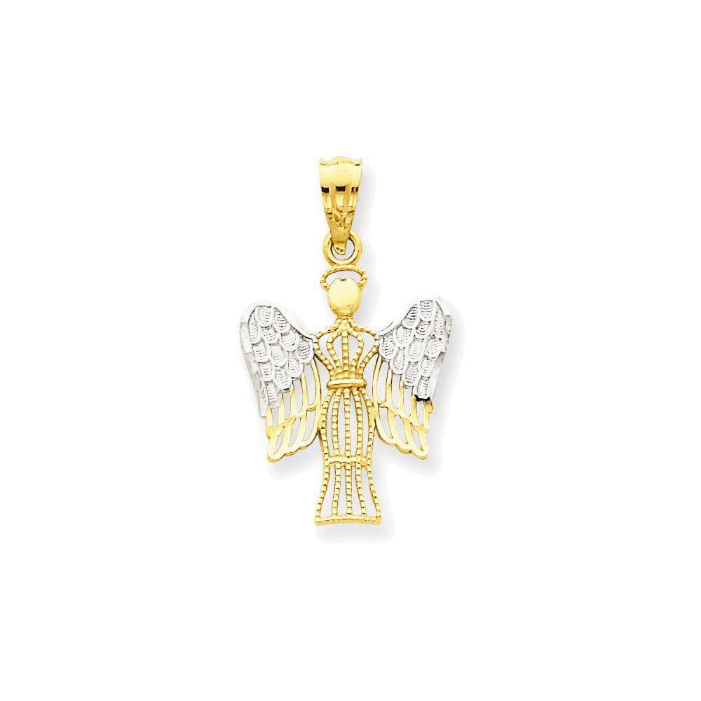 14k Rhodium Flashed Yellow Gold Diamond-Cut Angel Charm Pendant - 25mm
