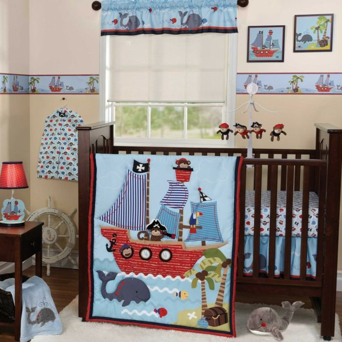 Kinderzimmer pirat  Babyzimmer Pirat mit Affen Piraten Wandbilder mit Schiffen und ...