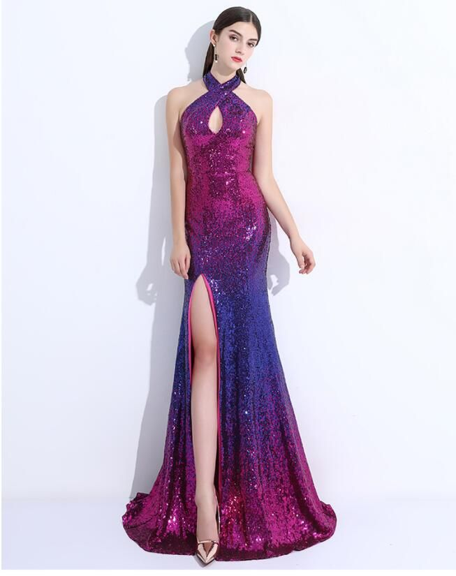 2018 New Gradient Prom Dresses,Halter Party Dress,Mermaid Backless ...