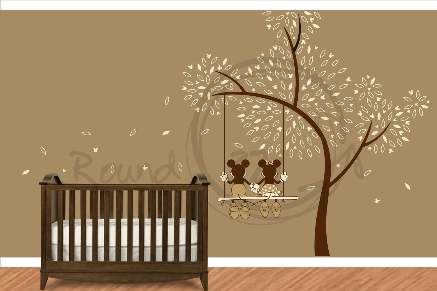 Mickey mouse minnie mouse wall decal wall vinyl for for Baby nursery wall decoration