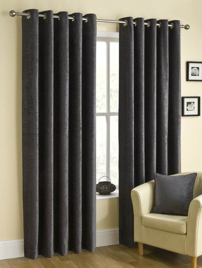 Puerto Ready Made Eyelet Curtains Pewter Luxury Ringtop Uk Delivery