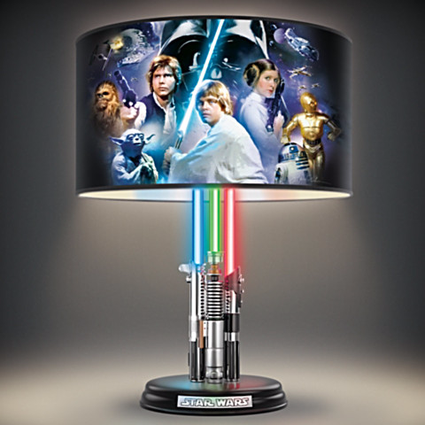 Feel the power of the Force with the Star Wars Original Trilogy Lamp With Illuminated Lightsabers.  Aside from Samuel L. Jackson getting a purple lightsaber because he's Samuel L. Jackson, this ancient weapon of the Star Wars universe is usually seen in one of three colors: Red, Blue, or