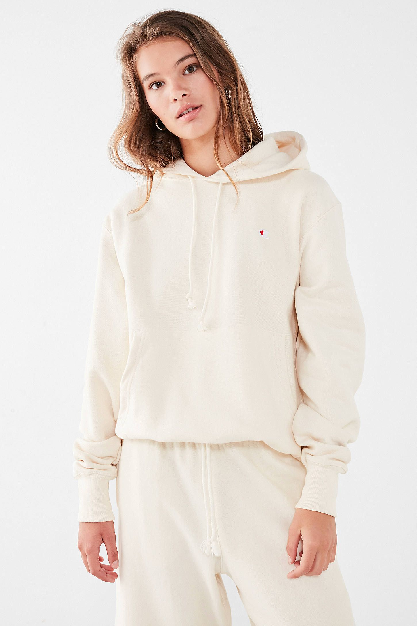 Shop Champion   UO Cream Reverse Weave Hoodie at Urban Outfitters today. We  carry all the latest styles e670b3e5fb
