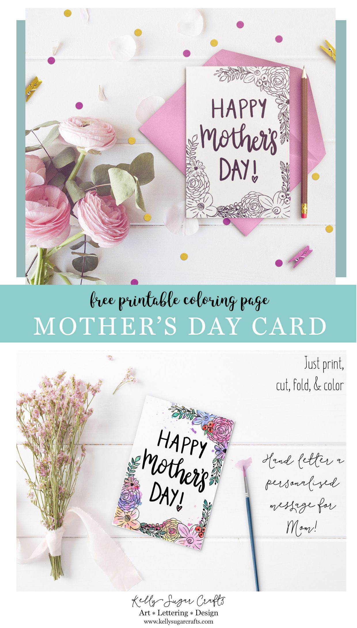 Free Floral Printable Mother\'s Day Coloring Page Card | Pinterest ...
