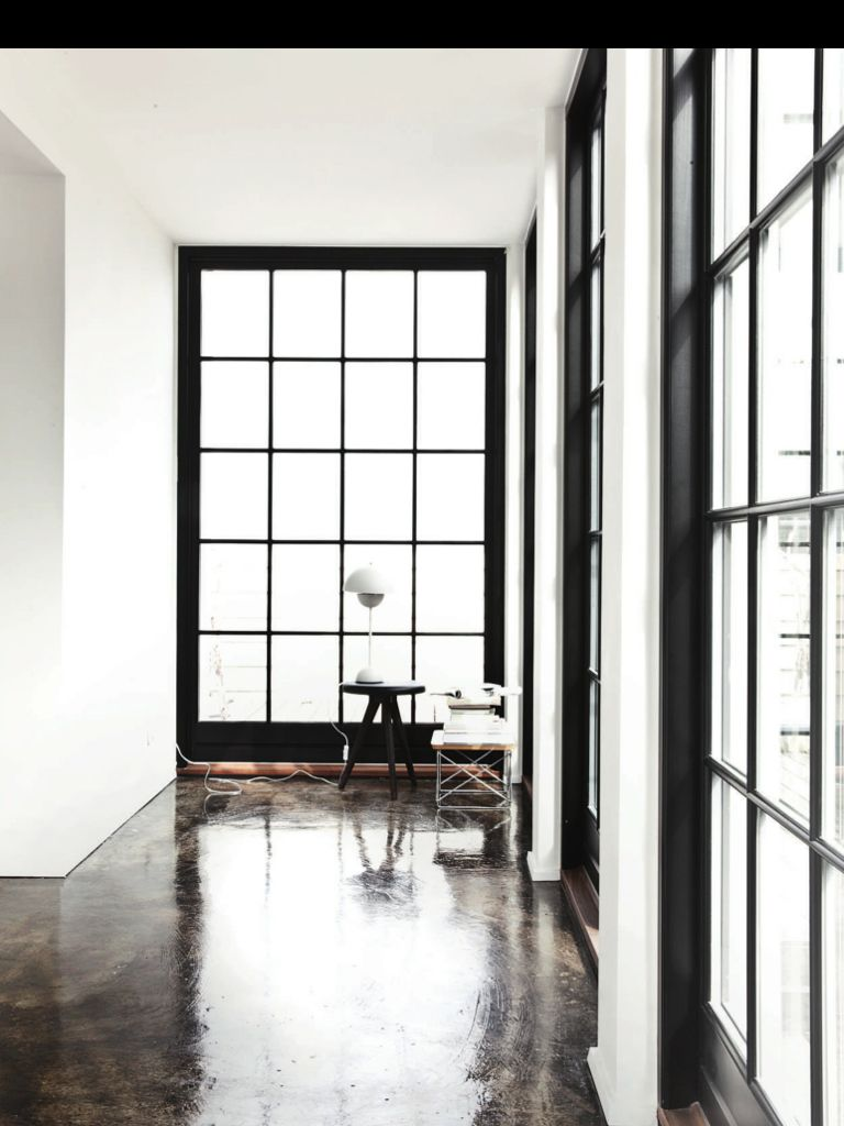 Black Window Frames Concrete Modern Farmhouse Exterior
