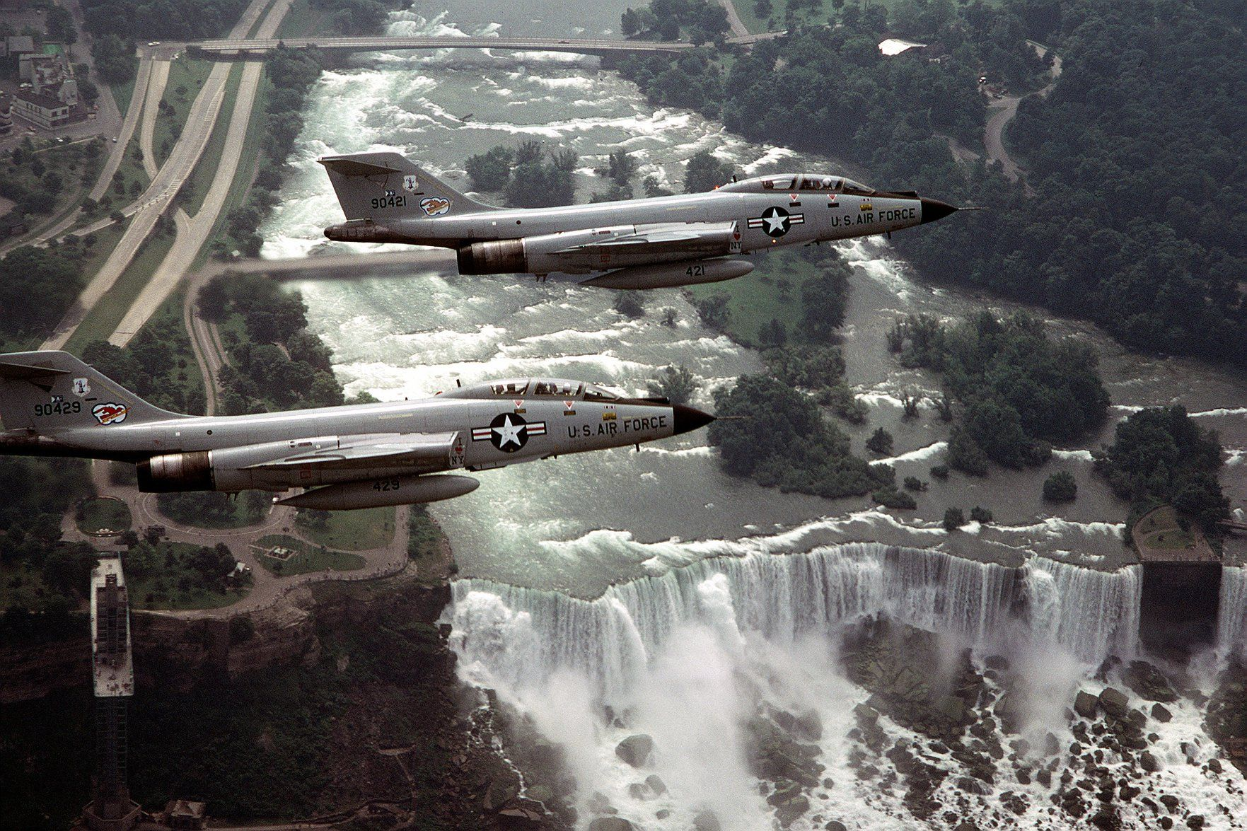 F101 Voodoo aircraft over Niagara Falls during exercise