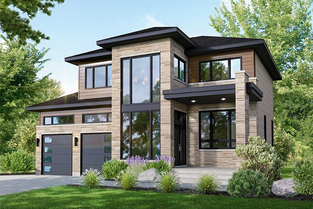 Plan 80917pm Contemporary 3 Bedroom House Plan With 2 Car Garage House Plans 2 Storey Modern House Exterior Bedroom House Plans