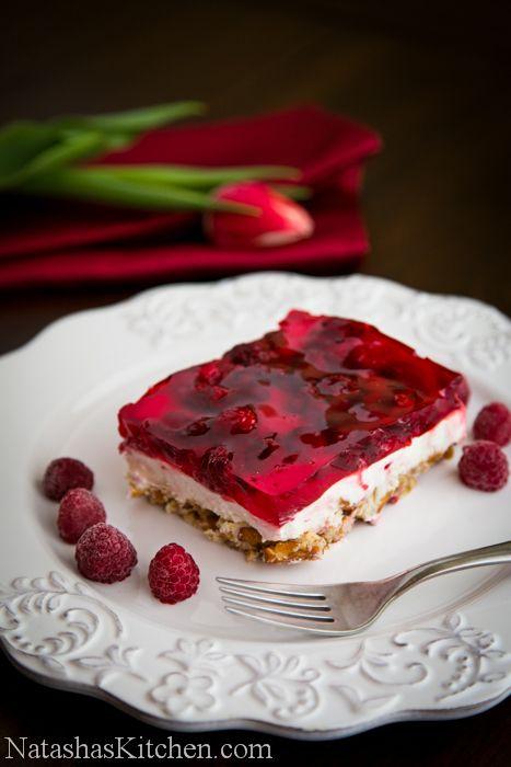 Raspberry Pretzel Jello | NatashasKitchen.com