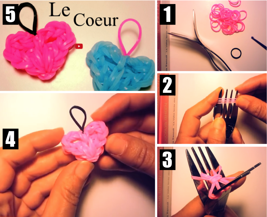 faire un coeur porte-clé à l'aide de deux fourchettes - les tutos