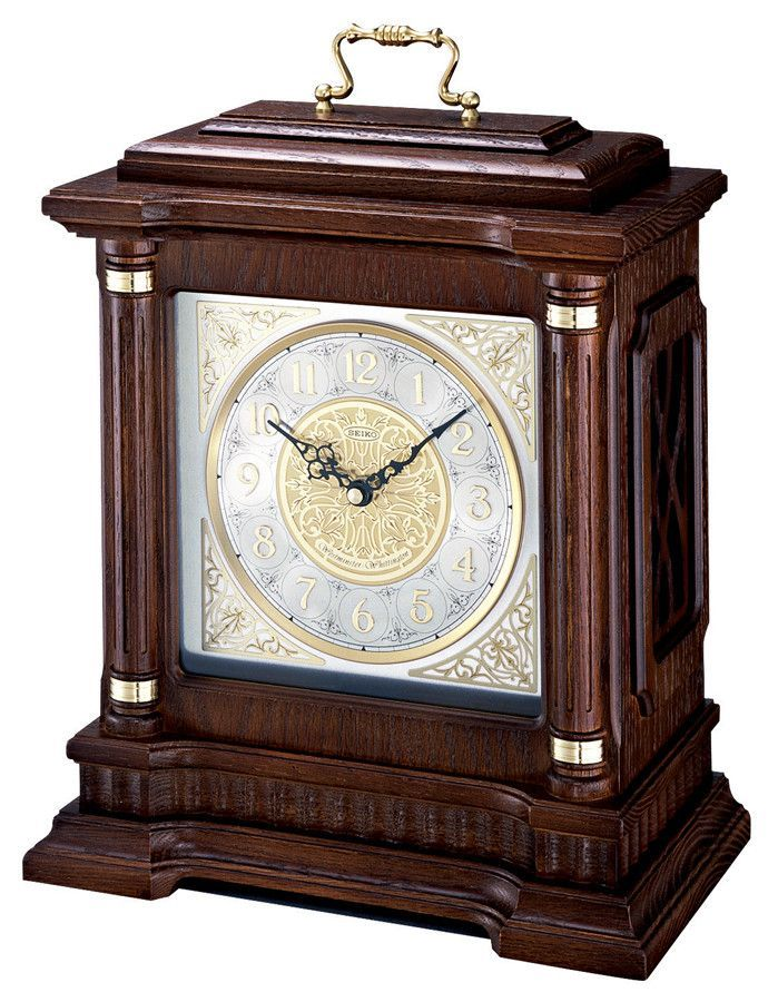 Seiko Chiming Carriage Mantel Clock With Oak Case And Metal Dial