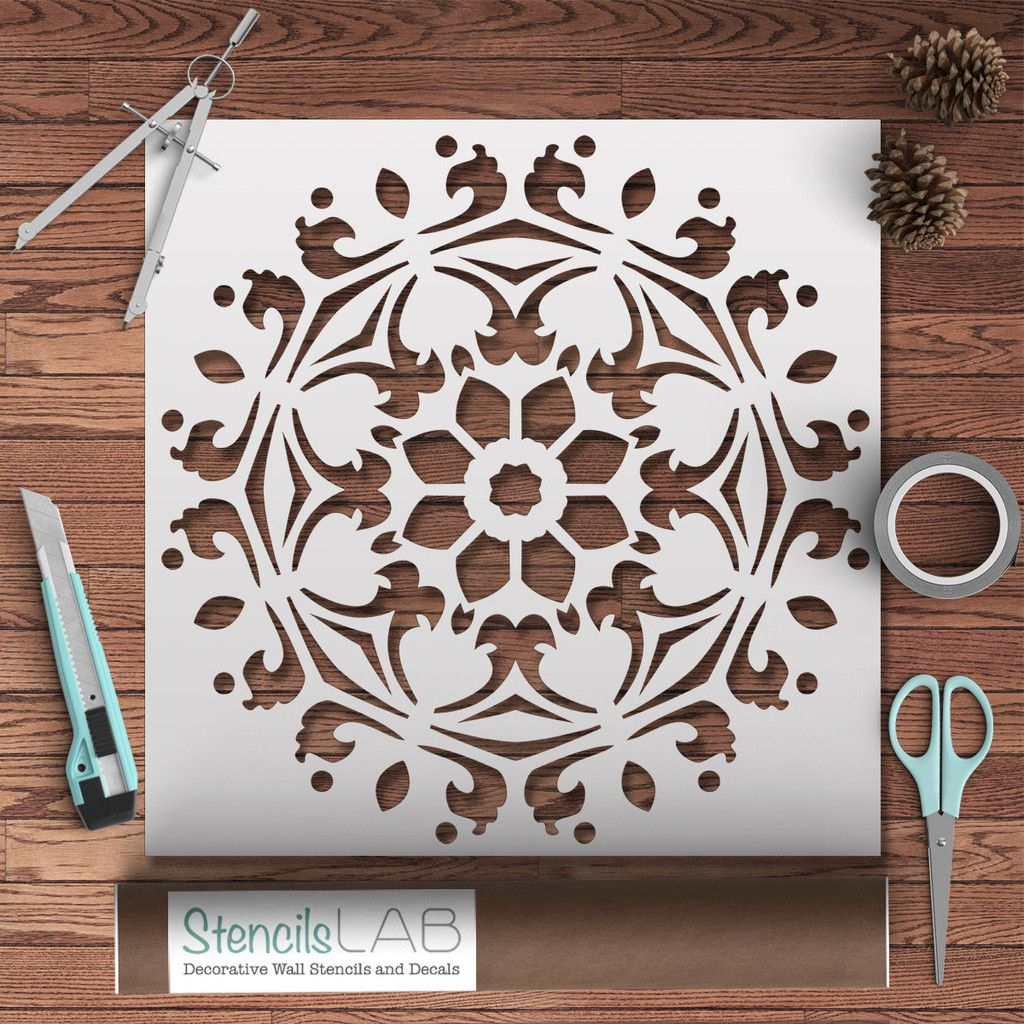 Decorative Symmetrical Mandala Style Stencil - Furniture ...