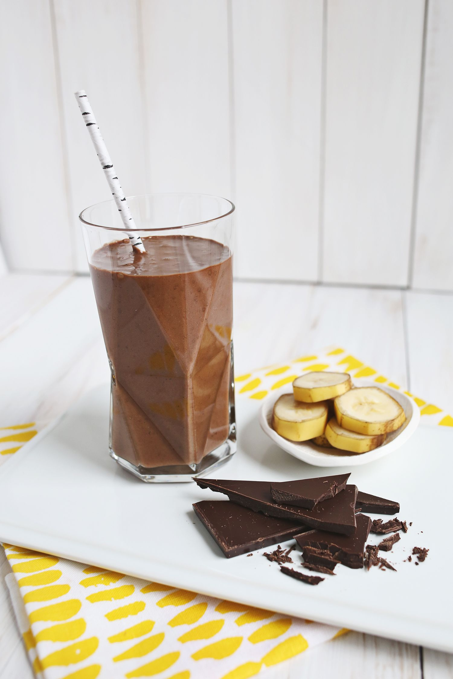 Healthy Chocolate Banana Shake - A Beautiful Mess #healthychocolateshakes