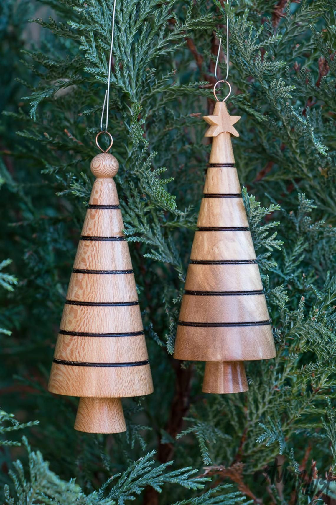 Hand Turned Christmas Tree Holiday Ornament Style 3 Wood Turning Wooden Christmas Ornaments Lathe Projects