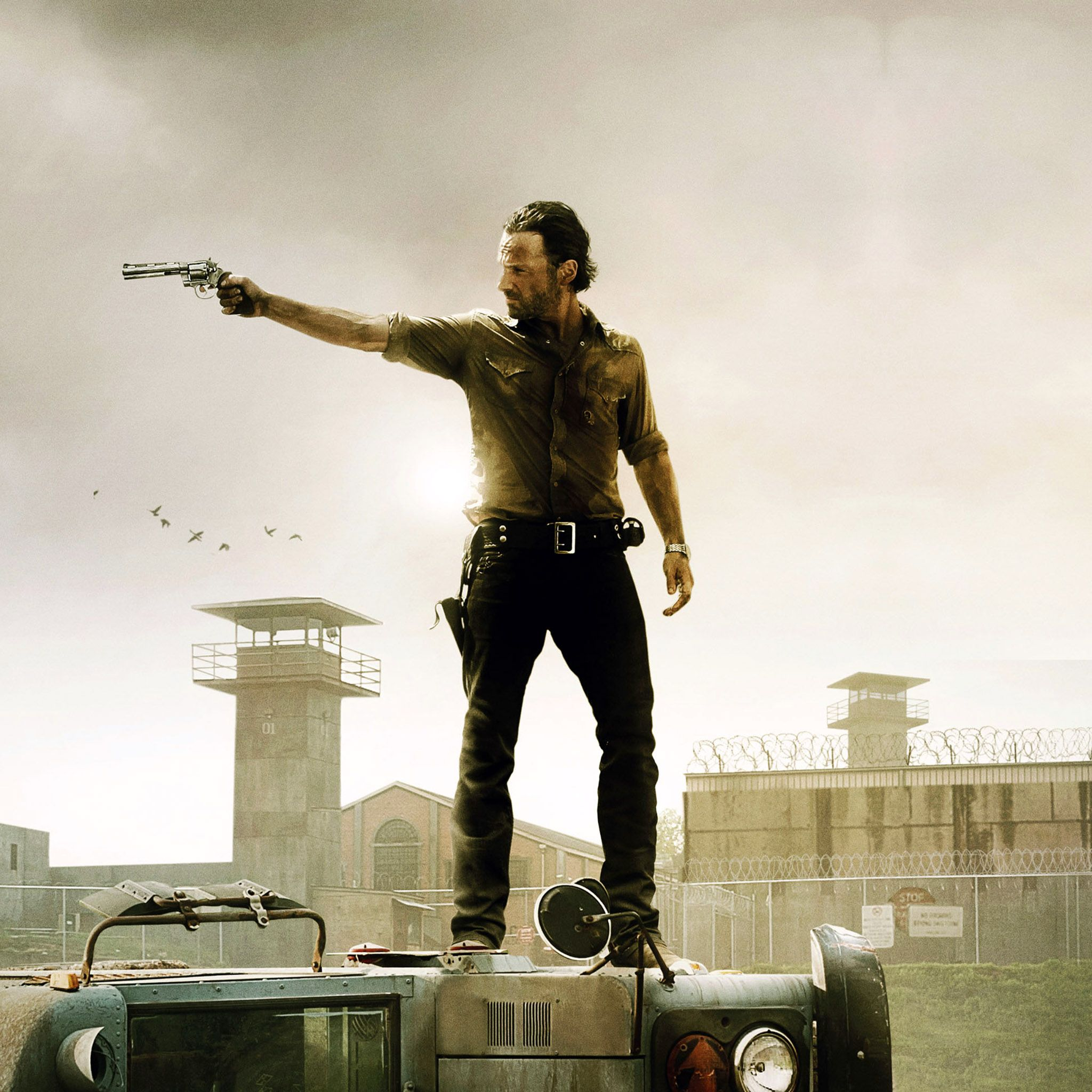 the walking dead rick grimes shooting ipad wallpaper hd 2048a—2048 pixels