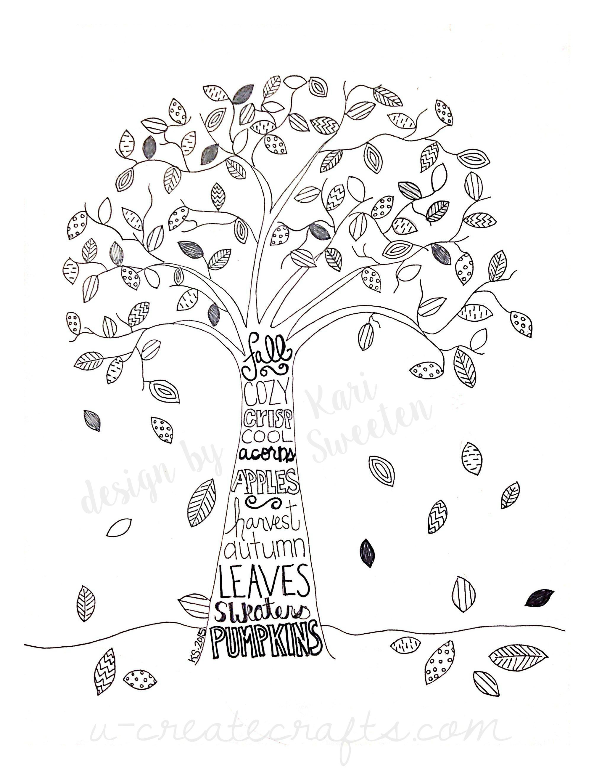 Free Fall Tree Pattern Tree Coloring Page Fall Coloring Pages