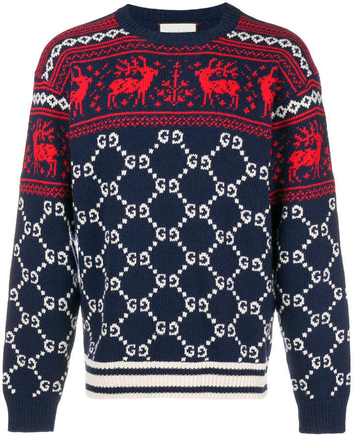 853993a83b6f Gucci GG And Reindeer Jacquard Sweater