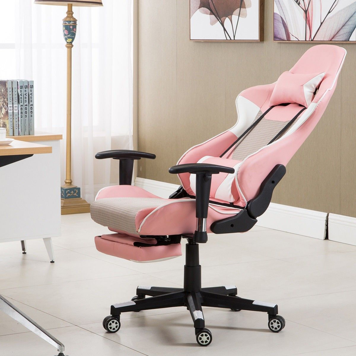 Pink High Back Gaming Racing Chair w/ Lumbar Support