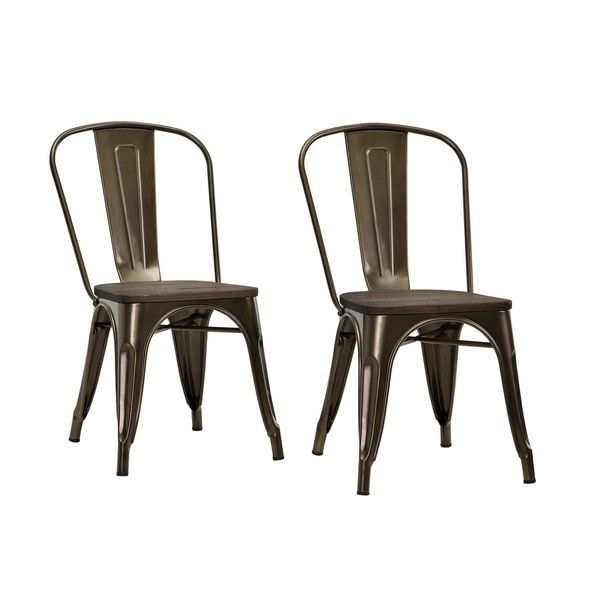 Dhp Fusion Metal Dining Side Chair With Wood Seat Set Of 2