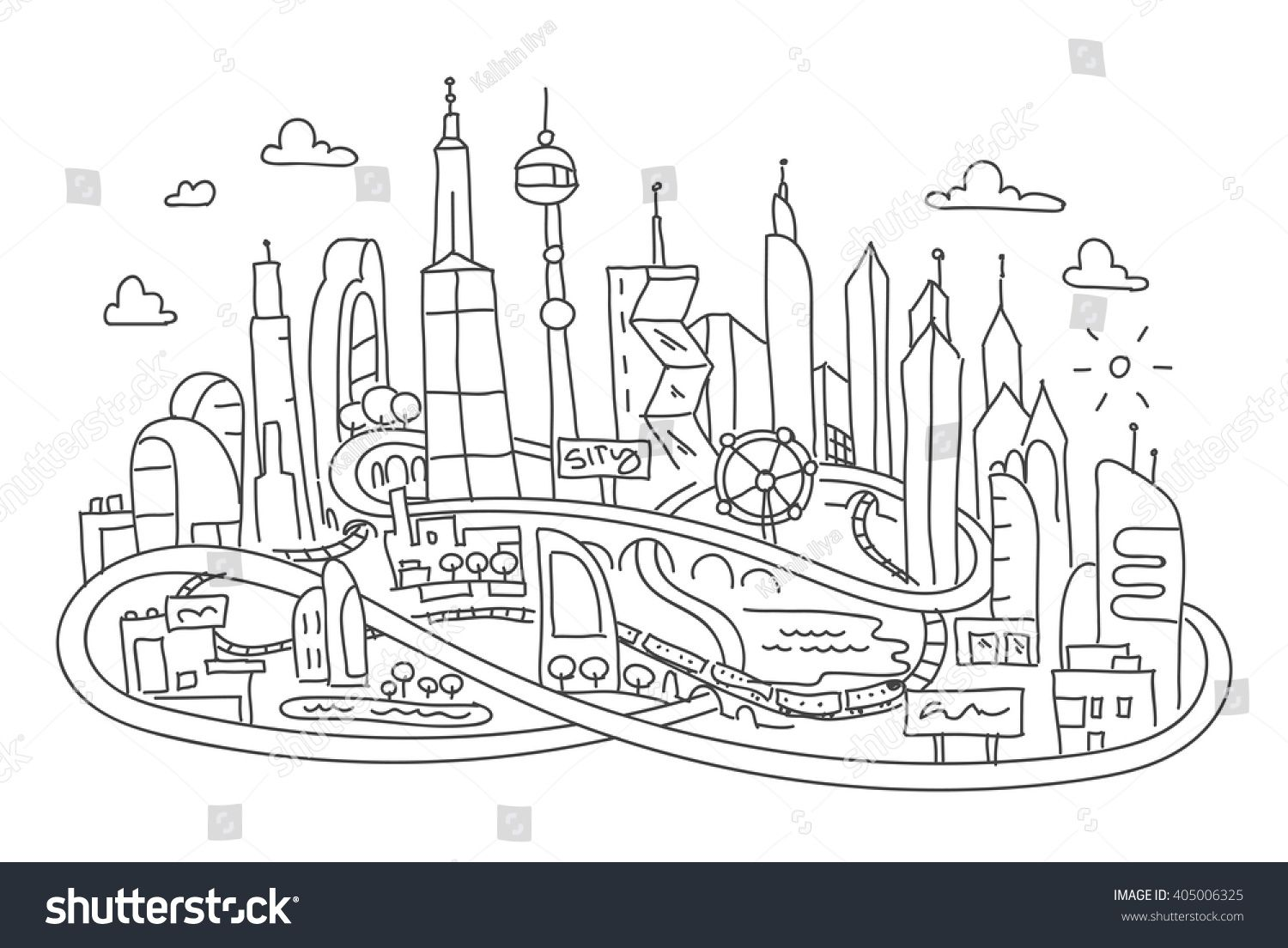 Future City Drawing Easy For Kids Google Search In 2020 Futuristic City Line Drawing City Drawing