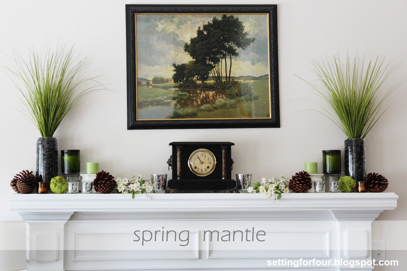 Spring fireplace mantel fireplace mantles mantle and for Mantel decorating tips