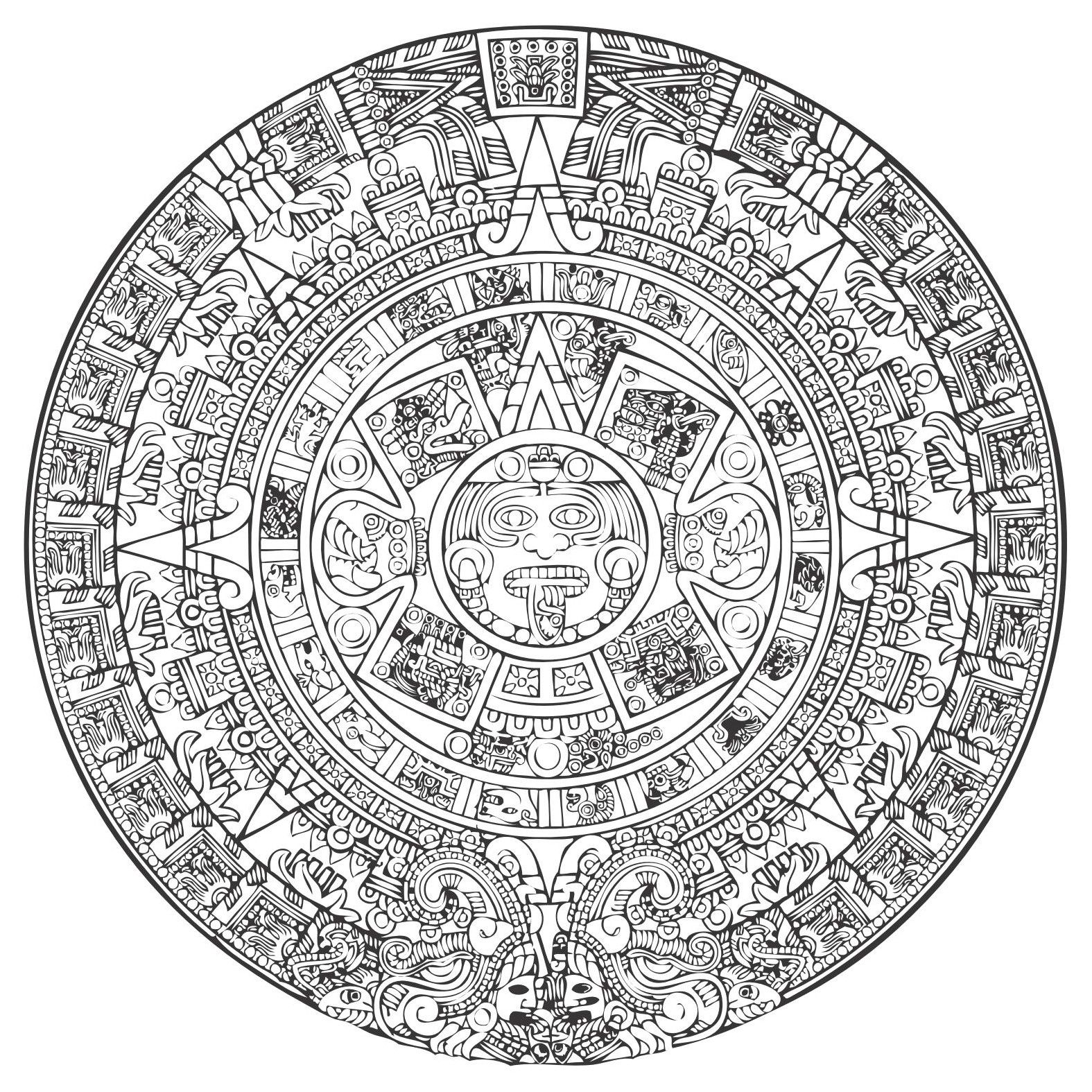 Aztec Calendar Vector Download Vector Simbolos Aztecas