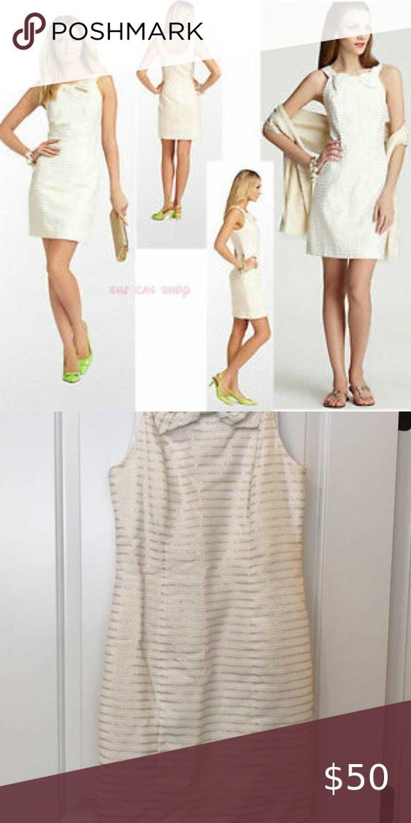 Lilly Pulitzer Henley Gold Stripe White Dress