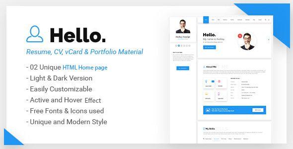 hello resume cv vcard portfolio material html template - Resume Html Template