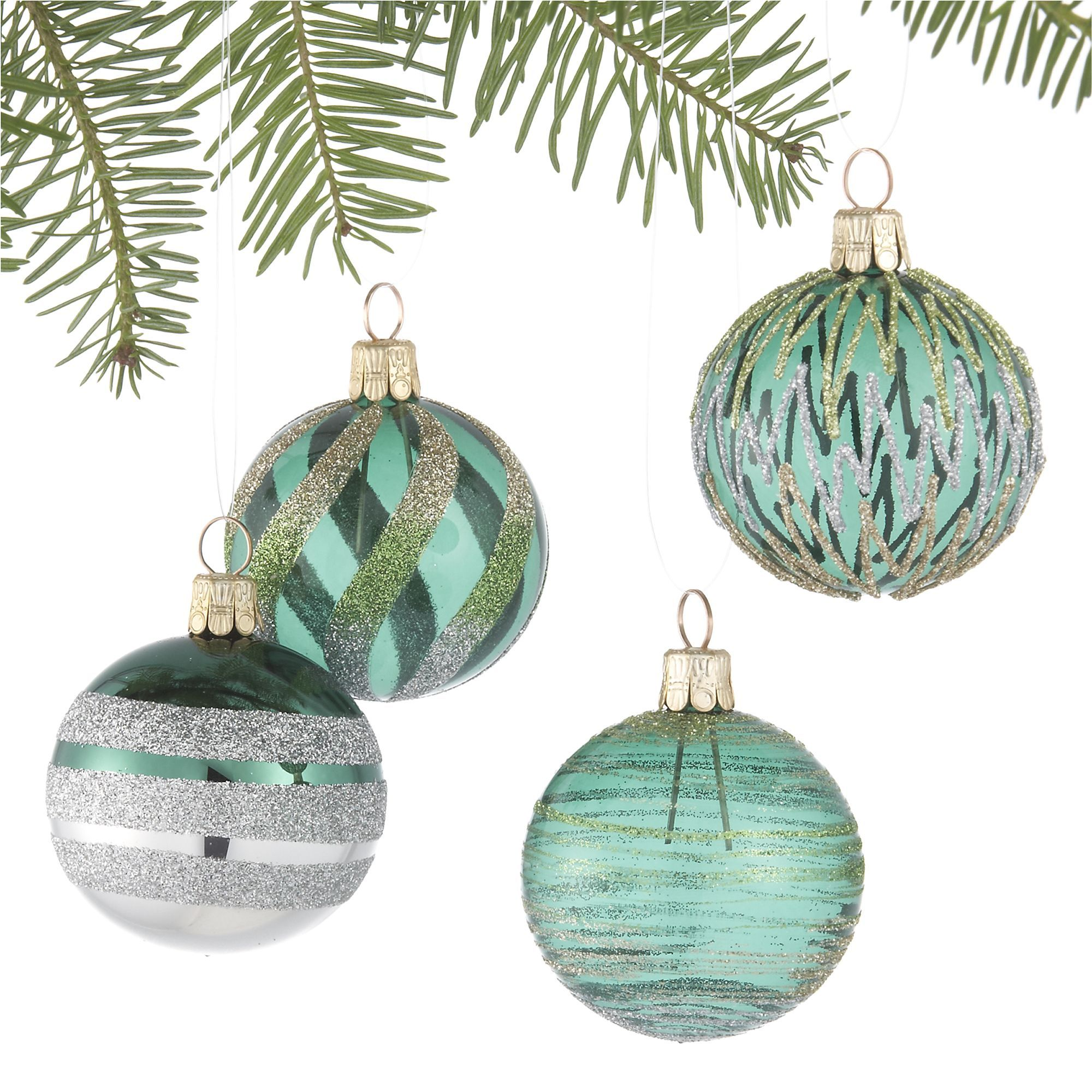 Set Of 4 Glitter Design Tonal Green Ball Ornaments In Christmas Ornaments Crate And B Silver Christmas Decorations Christmas Ornaments Hand Painted Ornaments