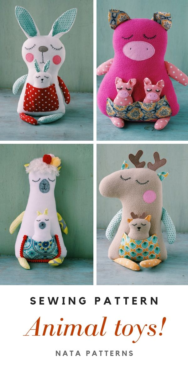 Stuffed plushe animal sewing pattern PDF Forest animal tutorial woodland nursery decor Animal doll sewing pattern for beginner Easy PDF | Выкройки животных мастер класс #animaltoys #animalpattern #sewingpattern #plushtoys #beartoy