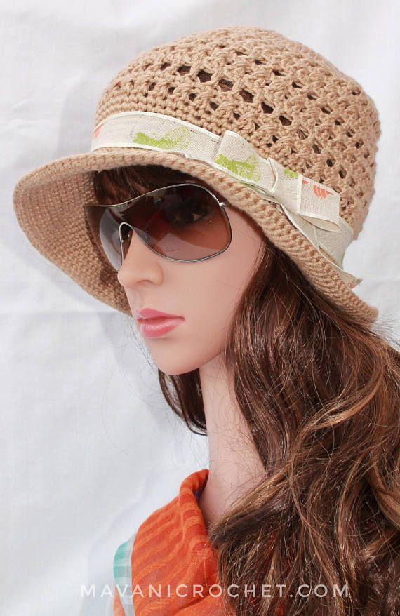 Gorro Tejido a Crochet para verano mujer adolescente niña  63fa8bde6d6