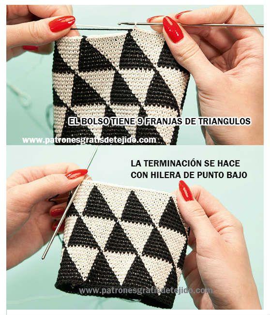 Tutorial Bolso de Mano Técnica Tapestry / Jackard crochet / Paso a ...