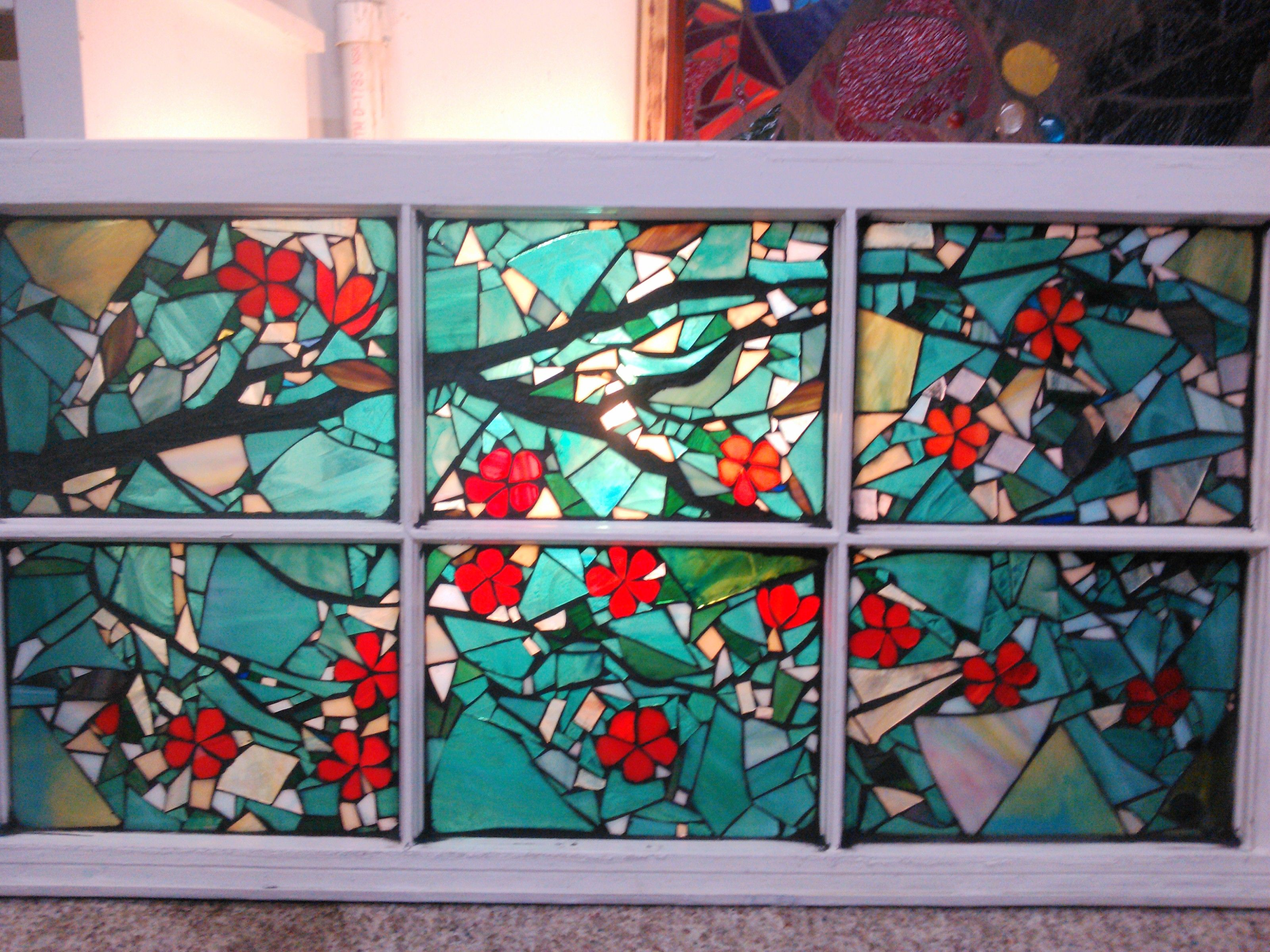 Cherry Blossom Tree stained glass mosaic window by ...