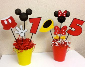 mickey mouse and minnie mouse birthday centerpieces boy girl party or baby shower maman. Black Bedroom Furniture Sets. Home Design Ideas
