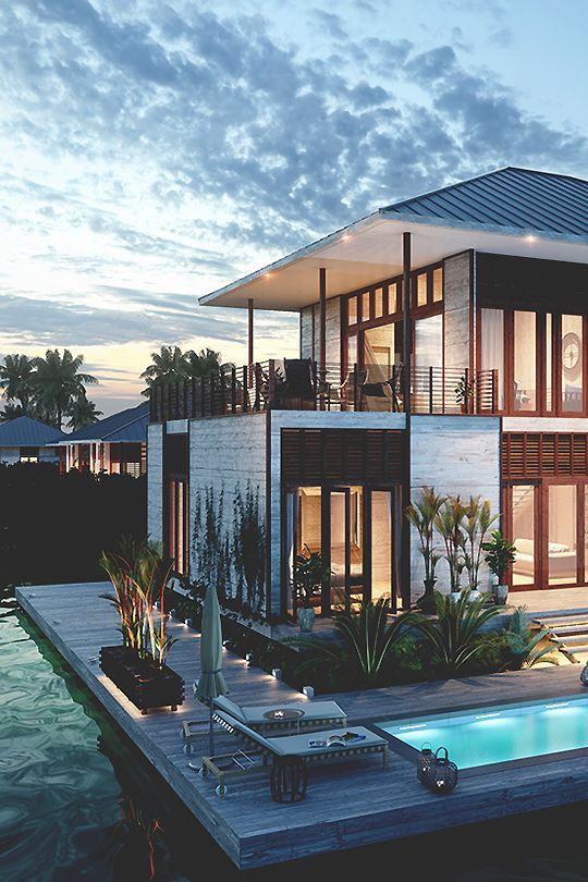 Beachfront Luxury Modern Home Exterior At Night: Design Perfect House Malibu Beach Architecture Smooth