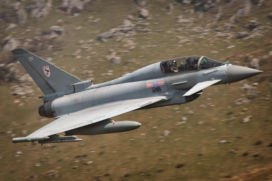 A twin stick Eurofighter Typhoon belonging to 29 Squadron.  Photographer: Lloyd Horgan