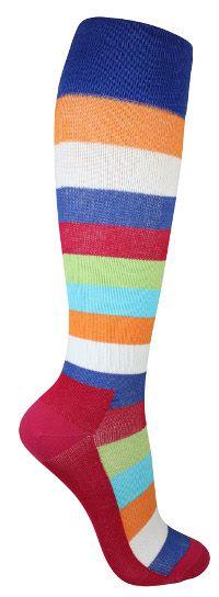 Värikkäät tukisukat. Näillä väreillä harmaakin aamu kirkastuu. Sukissa on kevyt tuki ja ne soveltuvat päivittäiseen käyttöön ehkäisemään jalkojen turvotusta ja väsymistä.