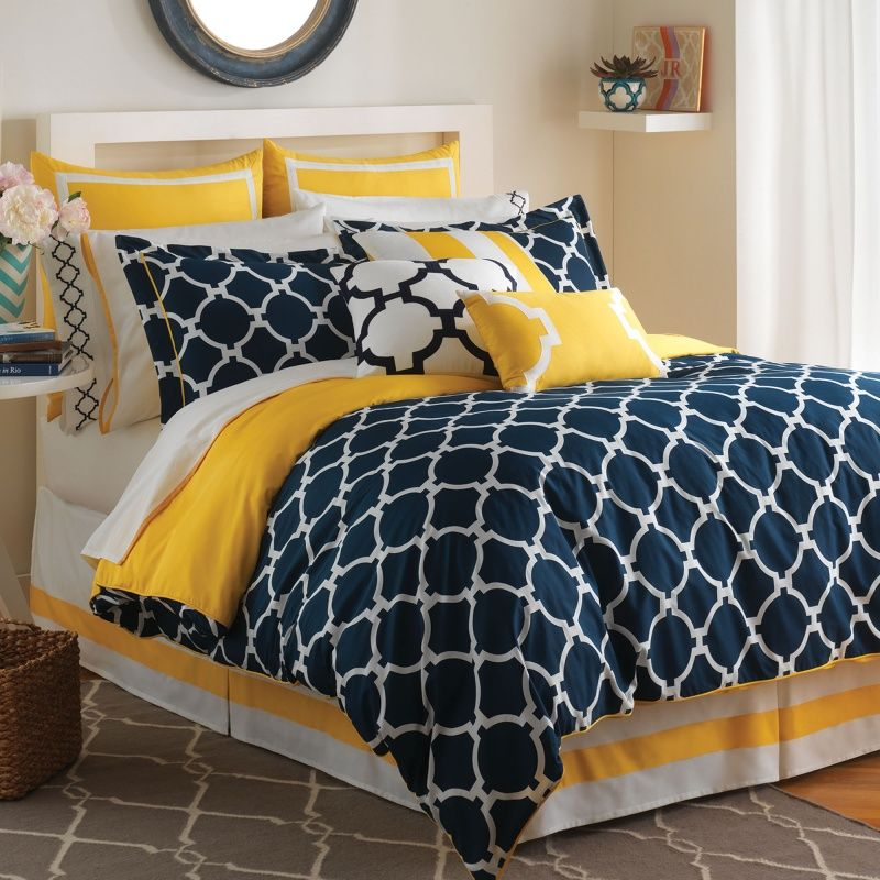 Navy White Yellow Bedspreads Hampton Links Bedding Collection
